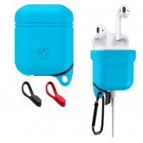 Voděodolný a prachuodolný silikonový ochranný obal pro Apple AirPods  - modrá