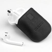 QIALINO ochranná kožená kapsa pro Apple AirPods  - černá