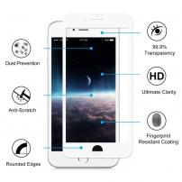 HAT PRINCE tvrzené 3D sklo pro celý obvod telefonu pro iPhone 8 / 7 - 0.2mm - bílá