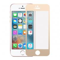 Tvrzené 3D sklo na celý obvod telefonu pro iPhone SE/ 5S / 5 - 0.3mm - zlatá