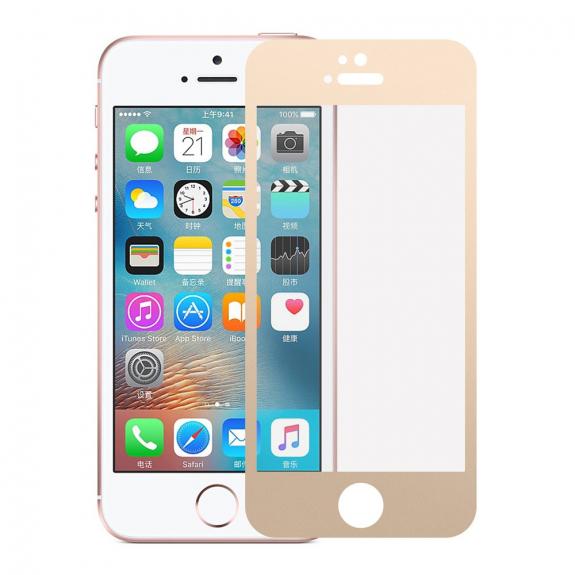 AppleKing tvrzené 3D sklo na celý obvod telefonu pro iPhone SE/ 5S / 5 - 0,3 mm - zlatá - možnost vrátit zboží ZDARMA do 30ti dní