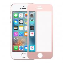Tvrzené 3D sklo na celý obvod telefonu pro iPhone SE/ 5S / 5 - 0.3mm - růžově zlatá