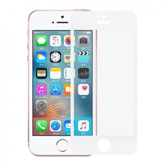 AppleKing tvrzené 3D sklo na celý obvod telefonu pro iPhone SE/ 5S / 5 - 0,3 mm - bílá - možnost vrátit zboží ZDARMA do 30ti dní