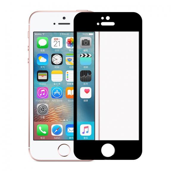 AppleKing tvrzené 3D sklo na celý obvod telefonu pro iPhone SE/ 5S / 5 - 0,3 mm - černá - možnost vrátit zboží ZDARMA do 30ti dní