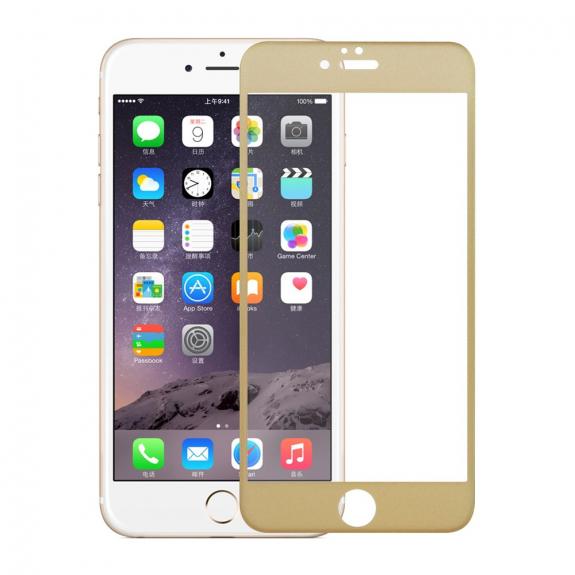 AppleKing tvrzené 3D sklo na celý obvod telefonu pro iPhone 6S / 6 - 0.3mm - zlatá - možnost vrátit zboží ZDARMA do 30ti dní
