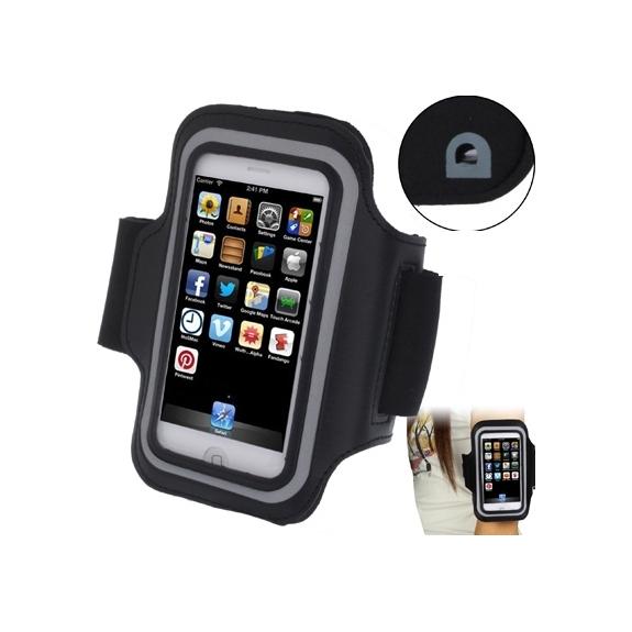 AppleKing sportovní pouzdro na ruku s průchodem na sluchátka pro iPhone 5 / 5S / SE / 4 / 4S - černé - možnost vrátit zboží ZDARMA do 30ti dní