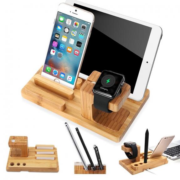 AppleKing dřevěná dokovací a nabíjecí stanice 3v1 pro Apple iPhone / iPad/ Watch - možnost vrátit zboží ZDARMA do 30ti dní