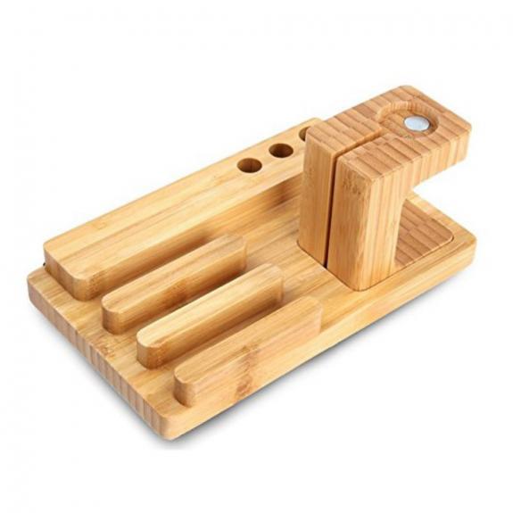 AppleKing dřevěná dokovací a nabíjecí stanice 3v1 pro Apple iPhone / iPad/ Watch - možnost vr