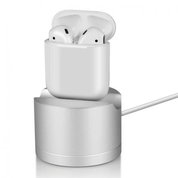 AppleKing hliníková dokovací stanice s lightning konektorem pro Apple iPhone/ iPad / AirPods / Magic Mouse - stříbrná - možnost vrátit zboží ZDARMA do 30ti dní
