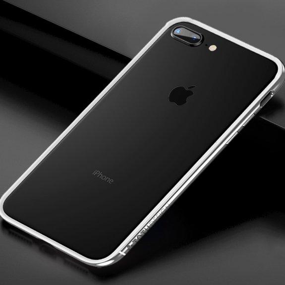 Totudesign rámeček k ochraně hran z tvrdého plastu pro iPhone 7 Plus / 8 Plus - stříbrný - možnost vrátit zboží ZDARMA do 30ti dní