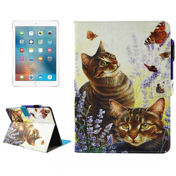 """AppleKing pouzdro se stojánkem, přihrádkami na doklady a apple pencil pro iPad Pro 9.7"""" / iPad Air 2 - kočka a motýli - možnost vrátit zboží ZDARMA do 30ti dní"""