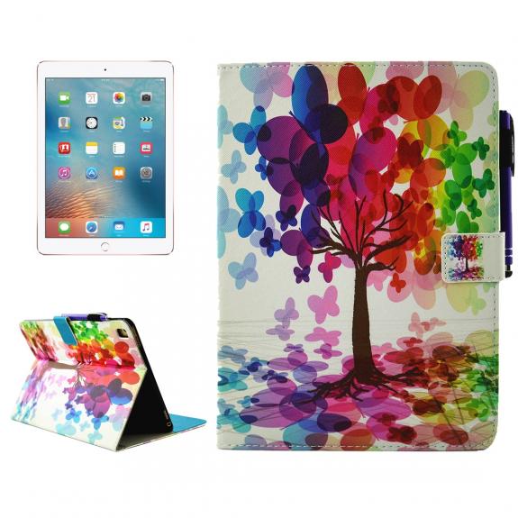 """AppleKing pouzdro se stojánkem, přihrádkami na doklady a apple pencil pro iPad Pro 9.7"""" / iPad Air 2 - strom s motýli - možnost vrátit zboží ZDARMA do 30ti dní"""