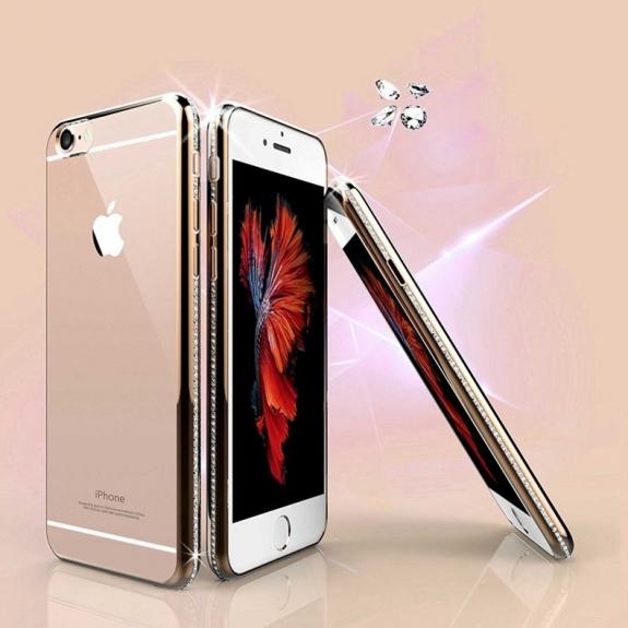 AppleKing luxusní kryt s třpytivými kamínky po obvodu pro iPhone 6 / 6S - zlatý - možnost vrátit zboží ZDARMA do 30ti dní