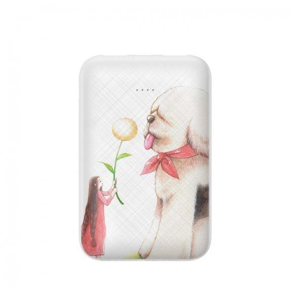 Baseus power banka 10000 mAh se dvěma USB porty - dívka se psem - možnost vrátit zboží ZDARMA do 30ti dní