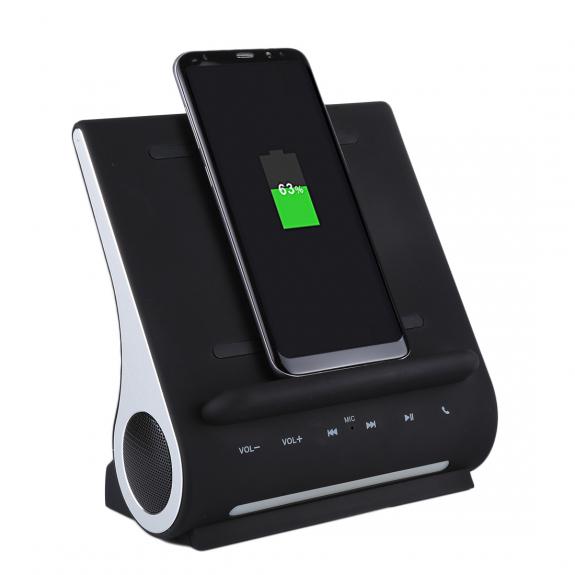 AZPEN 3 v 1 stylová a extra rychlá dokovací stanice se zabudovaným bluetooth reproduktorem a QI bezdrátovou nabíječkou pro Apple iPhone / iPad - možnost vrátit zboží ZDARMA do 30ti dní