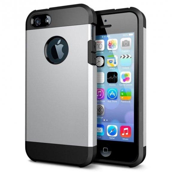 """AppleKing super odolný """"Armor"""" kryt pro iPhone 5 / 5S / SE - stříbrný - možnost vrátit zboží ZDARMA do 30ti dní"""