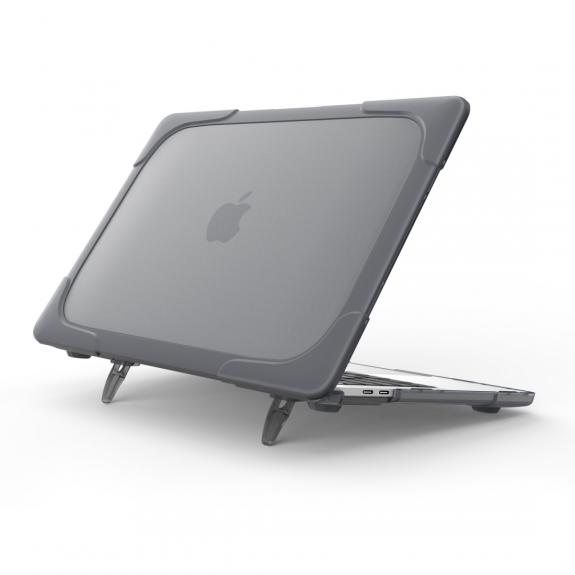"""AppleKing extra odolný nárazuvzdorný kryt s vyklápěcíma nožičkama pro MacBook Pro 13"""" (model A1706, A1708, A1989, A2159) - šedý - možnost vrátit zboží ZDARMA do 30ti dní"""