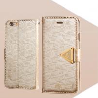 Otevírací obal / pouzdro s diamantovým leskem a magnetickým páskem na iPhone 6S / 6 - zlatý