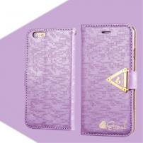 Otevírací obal / pouzdro s diamantovým leskem a magnetickým páskem na iPhone 6S / 6 - fialový