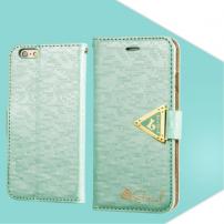 Otevírací obal / pouzdro s diamantovým leskem a magnetickým páskem na iPhone 6S / 6 - mátově zelený
