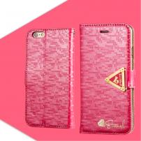 Otevírací obal / pouzdro s diamantovým leskem a magnetickým páskem na iPhone 6S / 6 - tmavě růžový
