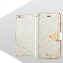 Otevírací obal / pouzdro s diamantovým leskem a magnetickým páskem na iPhone 6S / 6 - bílý