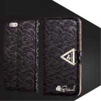 Otevírací obal / pouzdro s diamantovým leskem a magnetickým páskem na iPhone 6S / 6 - černý
