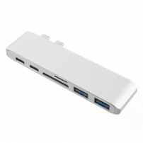 6v1 hliníkový hub / rozbočovač z USB-C (Thunderbolt 3) na 2 x USB 3.0 + čtečka SD a TF karet + 2 x USB-C pro Macbook Pro - stříbrný