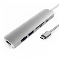 6v1 hliníkový hub / rozbočovač z USB-C (Thunderbolt 3) na 4K HDMI + 2 x USB 3.0 + čtečka SD a TF karet + USB-C pro Macbook / iMac - stříbrný