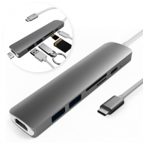 6v1 hliníkový hub / rozbočovač z USB-C (Thunderbolt 3) na 4K HDMI + 2 x USB 3.0 + čtečka SD a TF karet + USB-C pro Macbook / iMac - černý