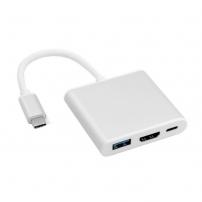 3v1 Redukce z USB-C (Thunderbolt 3) na HDMI + USB 3.0 + USB-C pro Apple MacBook - stříbrná