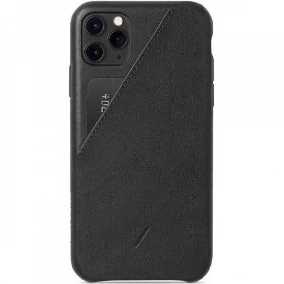 Native Union kožený kryt s kapsou na karty pro iPhone 11 Pro Max - černý CCARD-BLK-NP19L - možnost v
