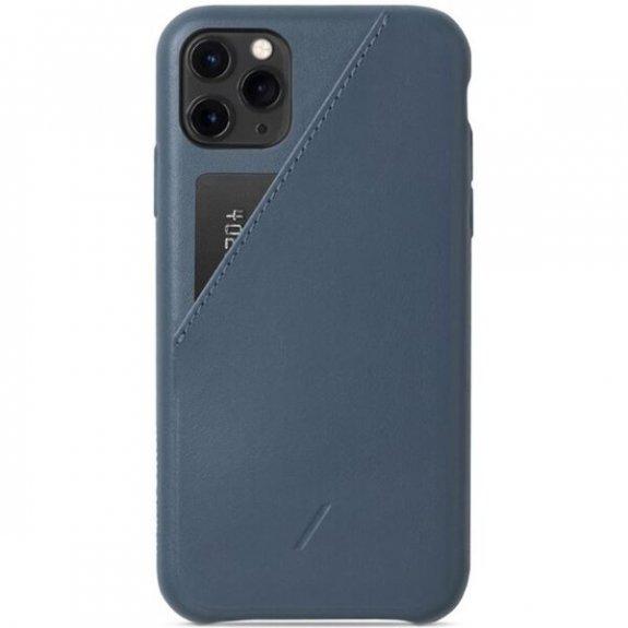 Native Union kožený kryt s kapsou na karty pro iPhone 11 Pro Max - tmavě modrý CCARD-IND-NP19L - mož