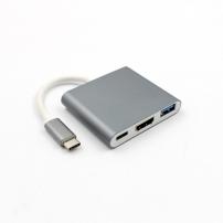 Redukce z USB-C (Thunderbolt 3) na 4K HDMI + USB 3.0 + USB-C pro Apple MacBook - podporuje nabíjení - šedá