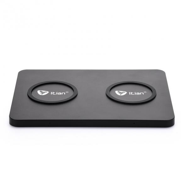 Itian Q300 bezdrátová nabíječka QI s možností nabíjení dvou telefonů zároveň pro Apple iPhone - černá - možnost vrátit zboží ZDARMA do 30ti dní