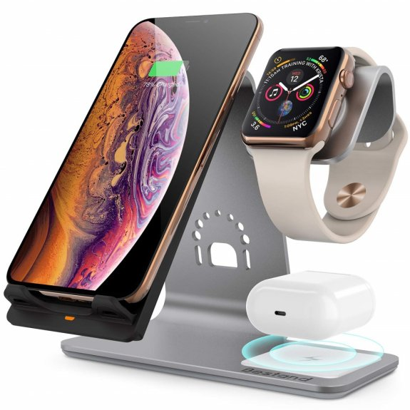 Bestand 3v1 stojánek s nabíjením pro Watch / AirPods a rychlým bezdrátovým nabíjením iPhone - šedý - možnost vrátit zboží ZDARMA do 30ti dní