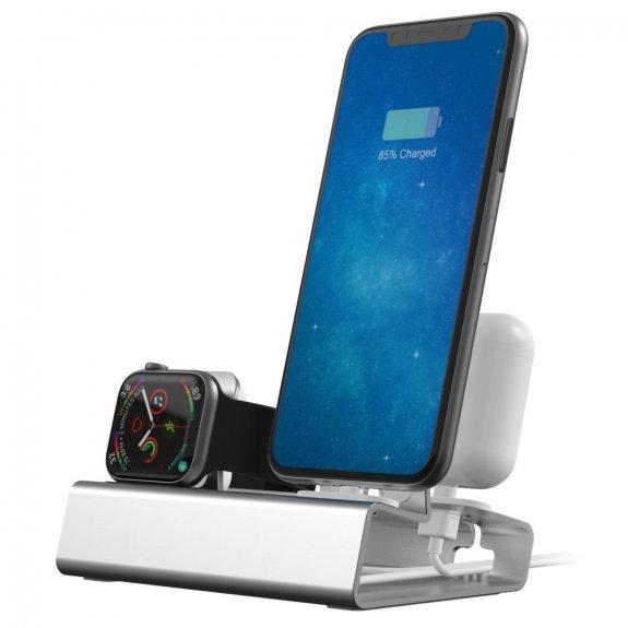 AppleKing hliníková dokovací stanice 3v1 pro iPhone / Apple Watch / AirPods - šedá - možnost vrátit zboží ZDARMA do 30ti dní
