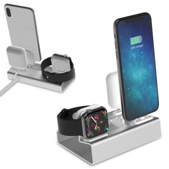 AppleKing hliníková dokovací stanice 3v1 pro iPhone / Watch / AirPods - stříbrná - možnost vrátit zboží ZDARMA do 30ti dní