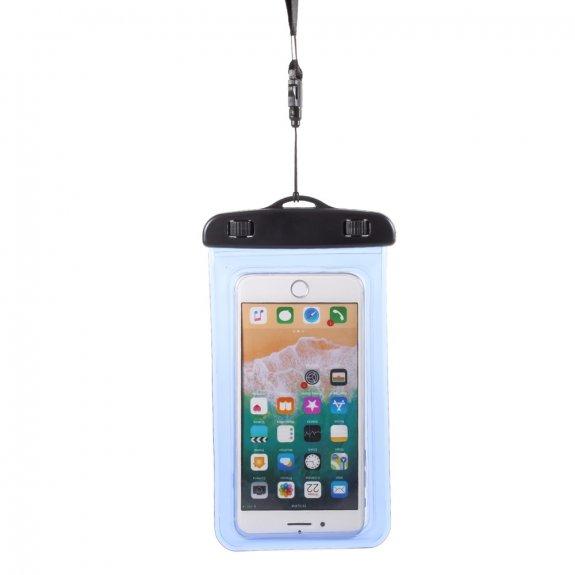 AppleKing nepromokavá kapsa s poutkem na ruku a na krk pro iPhone - 18,5 x 10 cm - modrá - možnost vrátit zboží ZDARMA do 30ti dní