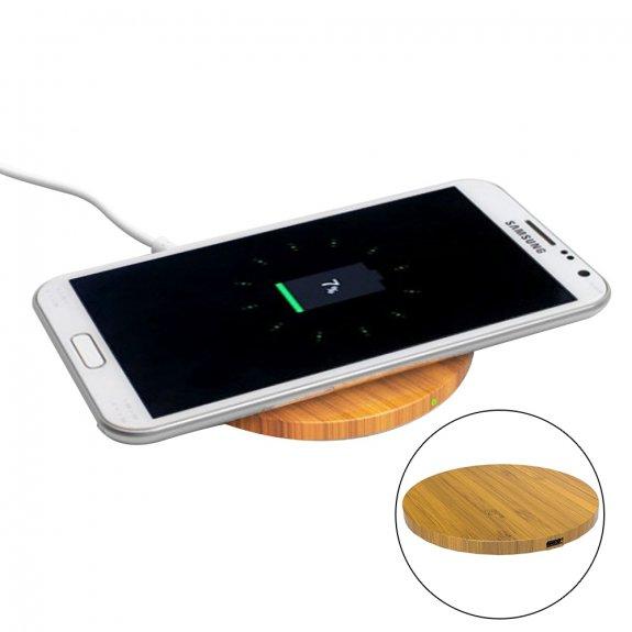 AppleKing bezdrátová Qi nabíječka z bambusového dřeva pro iPhone - kruhová - možnost vrátit zboží ZDARMA do 30ti dní
