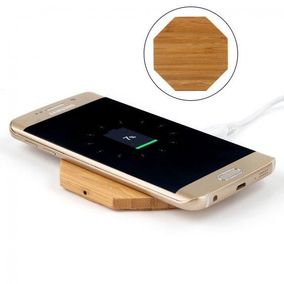 AppleKing bezdrátová Qi nabíječka z bambusového dřeva pro iPhone - osmistěn - možnost vrátit zboží ZDARMA do 30ti dní