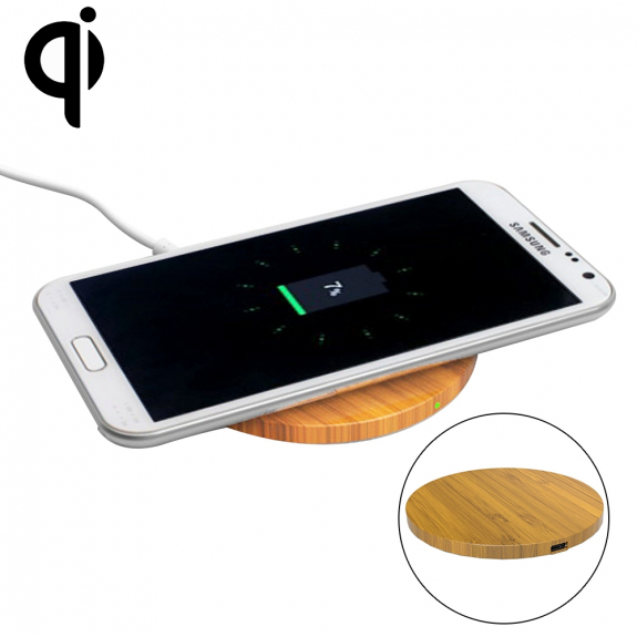 AppleKing luxusní Qi bezdrátová nabíječka z bambusového dřeva pro iPhone / 8 / 8 Plus - kruhová - možnost vrátit zboží ZDARMA do 30ti dní