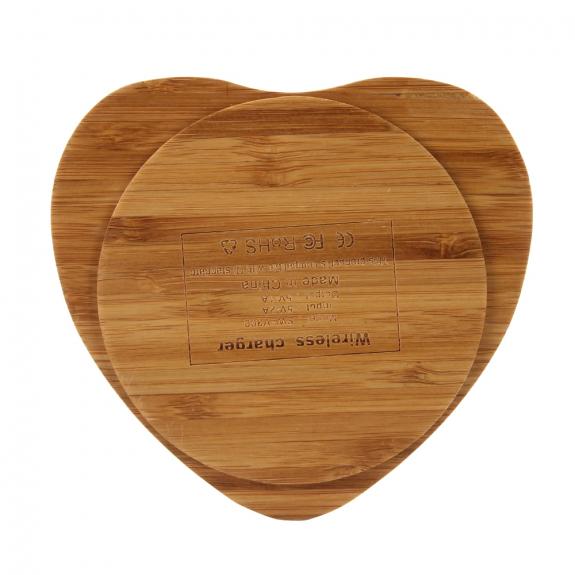 AppleKing luxusní Qi bezdrátová nabíječka z bambusového dřeva pro iPhone / 8 / 8 Plus - srdce - možnost vrátit zboží ZDARMA do 30ti dní