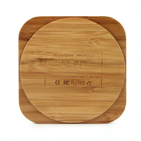 AppleKing luxusní Qi bezdrátová nabíječka z bambusového dřeva pro iPhone / 8 / 8 Plus - čtvercová - možnost vrátit zboží ZDARMA do 30ti dní