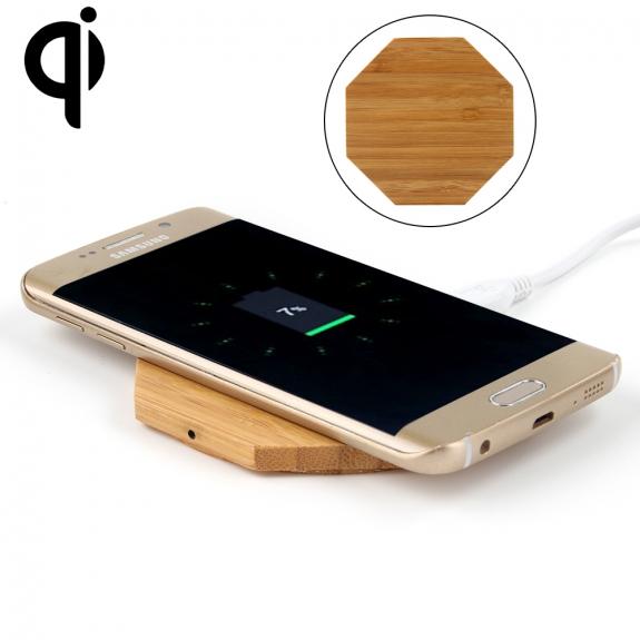 AppleKing luxusní Qi bezdrátová nabíječka z bambusového dřeva pro iPhone / 8 / 8 Plus - osmistěn - možnost vrátit zboží ZDARMA do 30ti dní