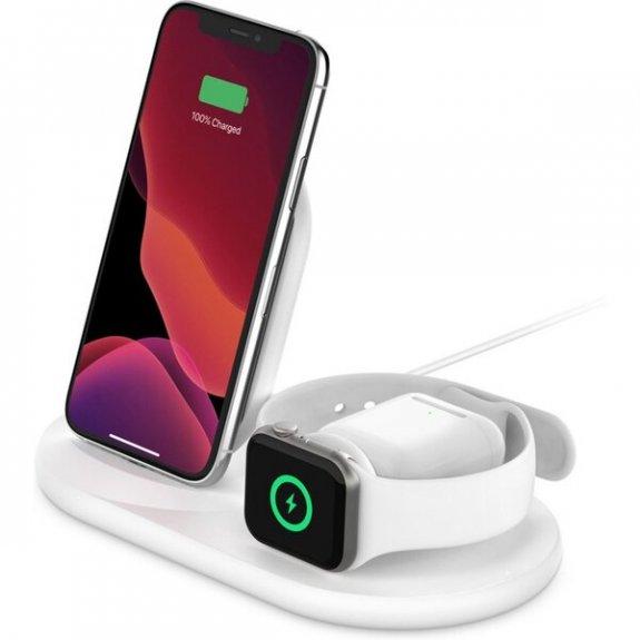 Belkin Boost Charge 3v1 bezdrátová nabíjecí stanice pro iPhone / AirPods / Apple Watch - bílá WIZ001vfWH - možnost vrátit zboží ZDARMA do 30ti dní