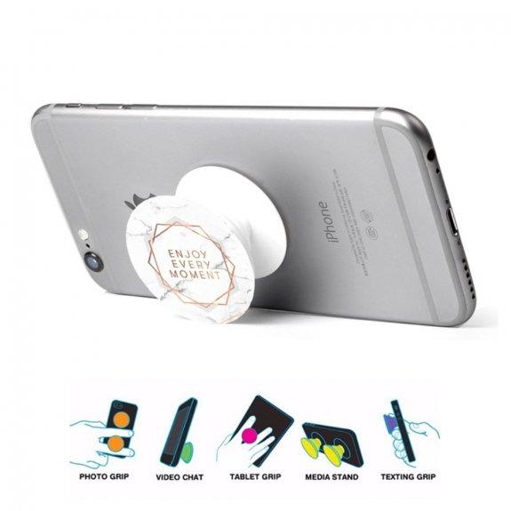 AppleKing nalepovací držák Enjoy every moment na iPhone / iPad - bílý mramor - možnost vrátit zboží ZDARMA do 30ti dní