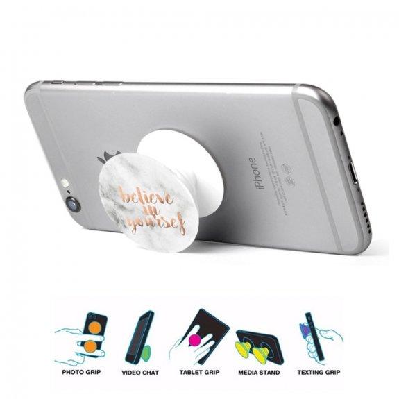 AppleKing nalepovací držák Believe in yourself na iPhone / iPad - bílý mramor - možnost vrátit zboží ZDARMA do 30ti dní