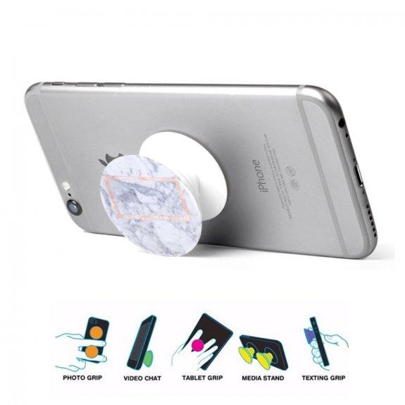 AppleKing nalepovací držák na iPhone / iPad - bílý mramor s obdélníkem - možnost vrátit zboží ZDARMA do 30ti dní