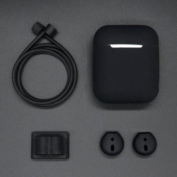 AppleKing praktická sada se šňůrkou proti ztrátě, silikonovým obalem, přezkou s úchytem a kryty sluchátek pro AirPods - černá - možnost vrátit zboží ZDARMA do 30ti dní